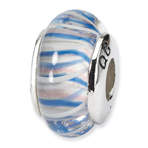 Blue and Pink Striped Murano Glass and .925 Sterling Silver Bead