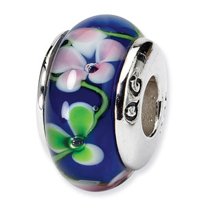 Blue Floral Murano Glass and .925 Sterling Silver Bead