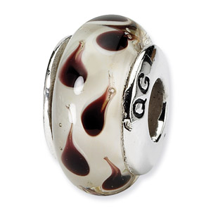 Sterling Silver Brown Hand-blown Glass Bead