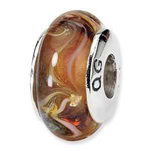 Brown Hnad Blown Glass and .925 Sterling Silver Bead