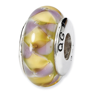 Sterling Silver Purple & Yellow Hand-blown Glass Bead
