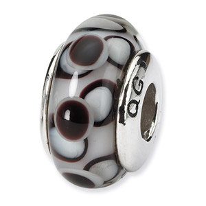 White and Black Hand Blown Glass and .925 Sterling Silver Bead