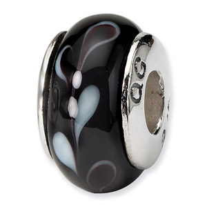 Black and White Murano Glass and .925 Sterling Silver Bead