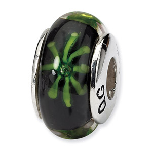 Sterling Silver Black & Green Hand-blown Glass Bead