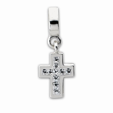 Cross Dangle Bead with CZ in Sterling Silver