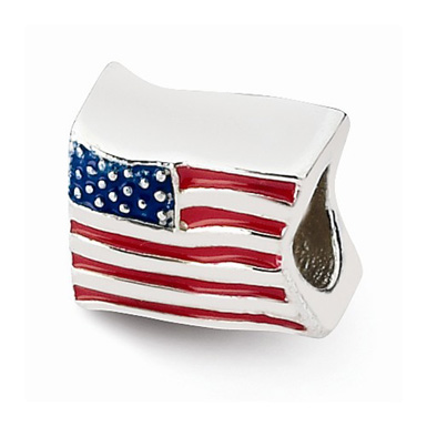 Red White and Blue American Flag Bead in Sterling Silver