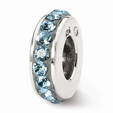 Swarovski March Birthstone Bead In Sterling Silver