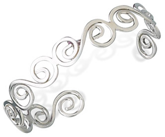 Thin Polished Sterling Silver Swirl Cuff