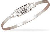 Floral Sterling Silver Bangle Bracelet