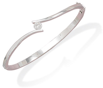Sterling Silver Bangle with CZ accent