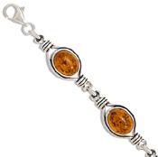 Amber Link Bracelet in Sterling Silver