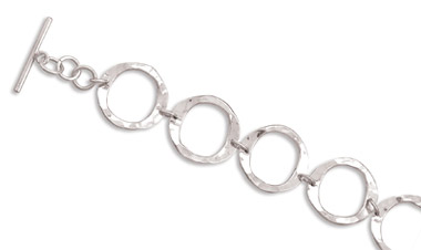 Sterling Silver Hammered Circle Toggle Clasp Bracelet