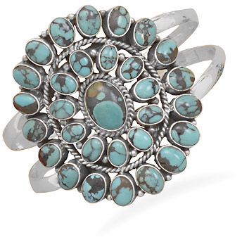 Antiqued Oval Turquoise Cuff Bracelet