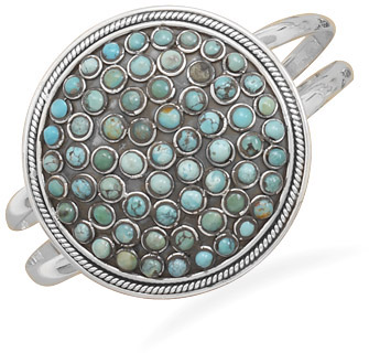 Large Round Turquoise Cuff Bracelet in Sterling Silver