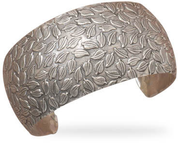 Sterling Silver Cuff Bracelet with Leaf Design