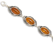 Amber Link Bracelet with Leaf Design
