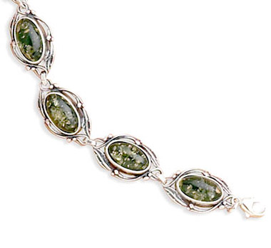 Green Amber Link Bracelet with Leaf Design