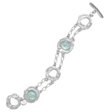 Double Strand Round Textured Silver and Roman Glass Toggle Bracelet