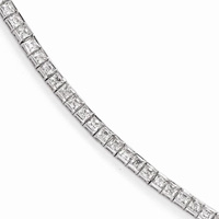 Princess-Cut Sterling Silver CZ Tennis Bracelet
