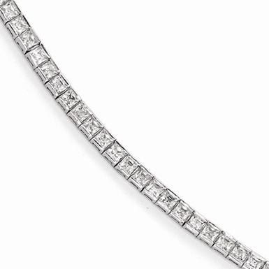 Princess-Cut Sterling Silver CZ Tennis Bracelet