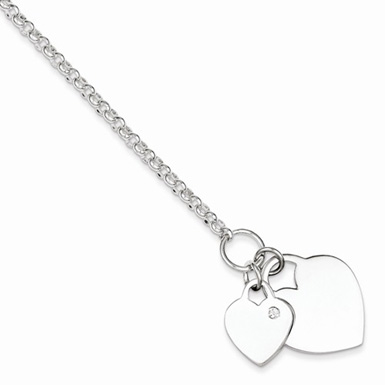Sterling Silver Double Heart Charm Bracelet with CZ Accent