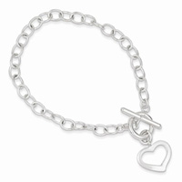 Sterling Silver Open Link Heart Toggle Bracelet