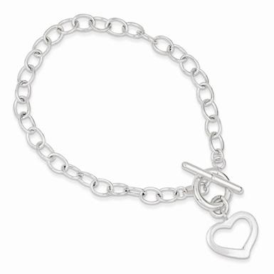 Sterling Silver Open Link Heart Toggle Bracelet