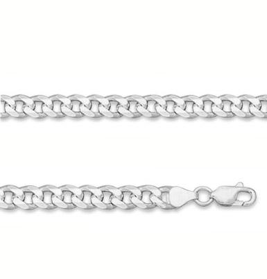 7mm Sterling Silver Curb Link Bracelet