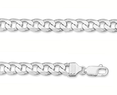 8mm Sterling Silver Curb Link Bracelet