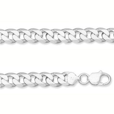 9.5mm Sterling Silver Curb Link Bracelet