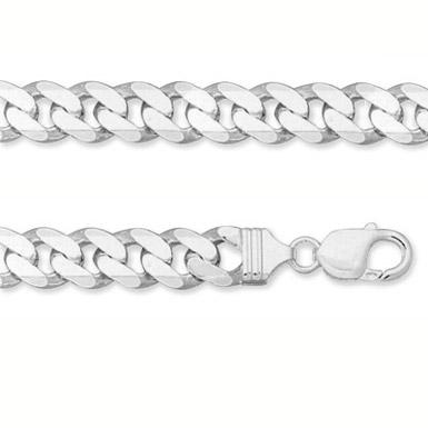 11mm Sterling Silver Curb Link Bracelet