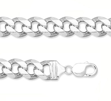 13mm Sterling Silver Curb Link Bracelet