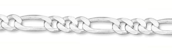 8mm Sterling Silver Figaro Link Chain