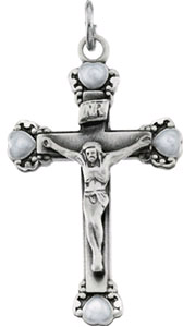 Sterling Silver Crucifix Pendant with Heart Accents