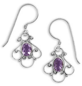Fancy Amethyst Earrings in Sterling Silver