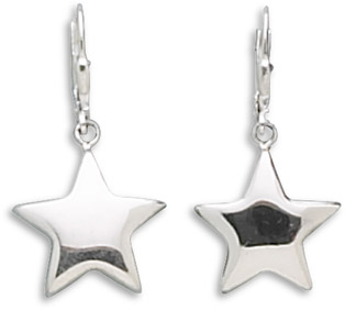 Puffed Star Sterling Silver Earrings