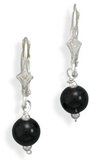 Black Onyx Sterling Silver Lever Back Earrings