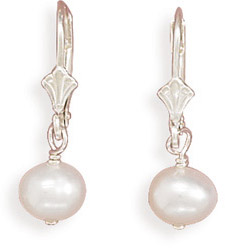 White Cultured Freshwater Pearl Lever Back Earrings