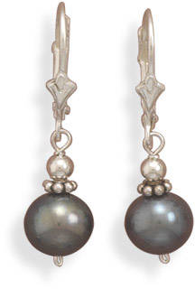 Peacock Cultured Freshwater Pearl Lever Back Earrings