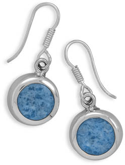 Round Blue Denim Lapis Earrings