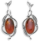 Baltic Amber Leaf Design Earrings