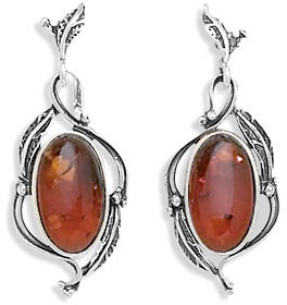 Baltic Amber Leaf Design Earrings Baltic Amber Jewelry