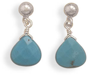 Faceted Turquoise Earrings in Sterling Silver