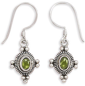 Oval Peridot Cabochon Earrings in Sterling Silver