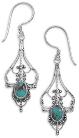 Oval Turquoise Sterling Silver Filigree Earrings