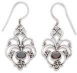 Antiqued Filigree Garnet Earrings in Sterling Silver