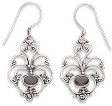 Antiqued Filigree Garnet Earrings in Sterling Silver