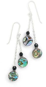 Paua Shell and Black Onyx Earrings
