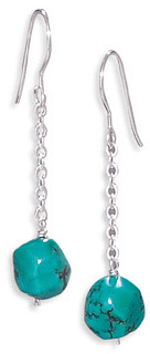 Turquoise Drop Earrings in Sterling Silver