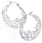 Scroll Design Sterling Silver Hoop Earrings